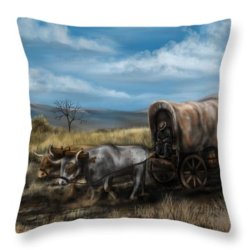 A Long Journey - Covered Wagon On The Prairie Throw Pillow