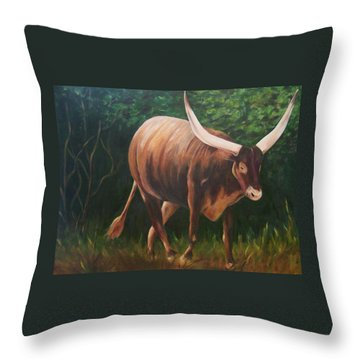 A Lot Of Bull, Watusi  Throw Pillow
