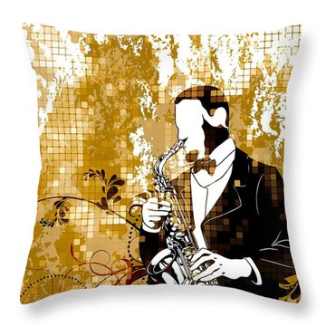 A Love For Sax Throw Pillow by Stanley Mathis