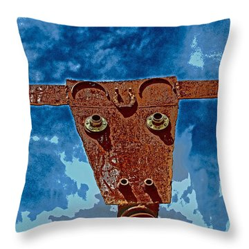 Throw Pillow featuring the photograph A Lucky Bull by Lynn Sprowl