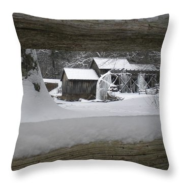 A Mabry Mill Winter Throw Pillow