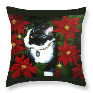 Tuxedo Cat Trouble  Throw Pillow
