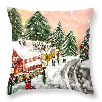 A Magical Frost Throw Pillow by Lori  Lovetere