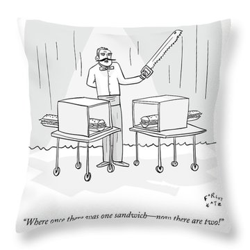 A Magician Holding A Saw Shows Two Boxes Throw Pillow
