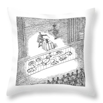 A Magician Is Seen On Stage Throw Pillow