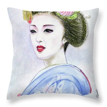 Throw Pillow featuring the drawing A Maiko  Girl by Yoshiko Mishina