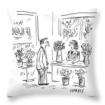 A Man Addressing A Florist Throw Pillow