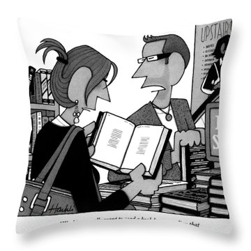 A Man And A Woman Are In A Bookstore Throw Pillow