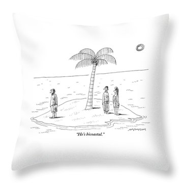 A Man And A Woman Stand On One Coast Of A Tiny Throw Pillow