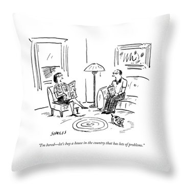 A Man And A Woman Talk In Their Living Room Throw Pillow by David Sipress