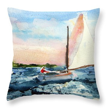 A Man And His Boat Throw Pillow