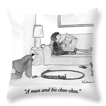 A Man And His Choo-choo Throw Pillow