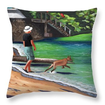 Throw Pillow featuring the painting A Man And His Dog by Laura Forde