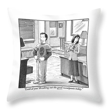 A Man And Woman Are Getting Dressed In A Room Throw Pillow