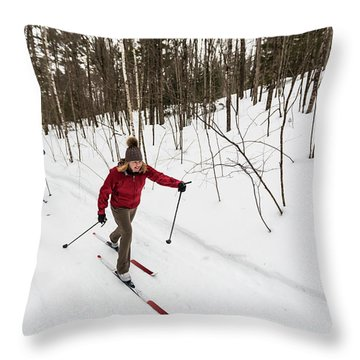 A Man And Woman Cross Country Skiing Throw Pillow