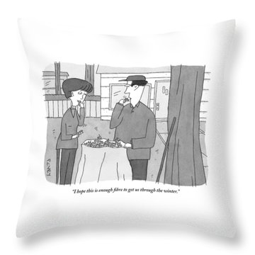 A Man And Woman Stand Outside With A Bag Throw Pillow