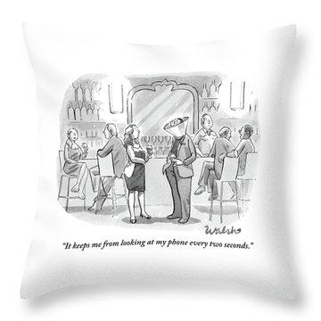 A Man And Woman Talk At The Bar Throw Pillow