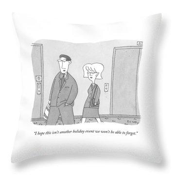 A Man And Woman Walk Down An Apartment-building Throw Pillow