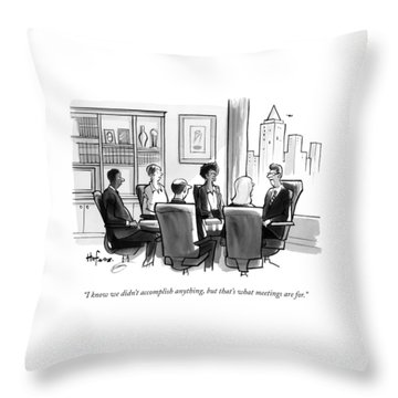 A Man Announces At A Business Conference Meeting Throw Pillow