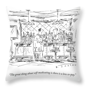 A Man At A Bar Talking To The Bartender Throw Pillow