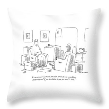 A Man Explains To His Wife In Their Living Room Throw Pillow