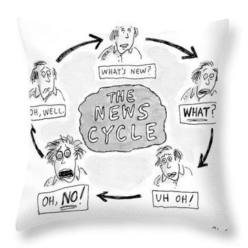 A Man Goes Through Cyclical Reactions To A News Throw Pillow