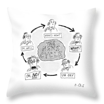 A Man Goes Through Cyclical Reactions To A News Throw Pillow