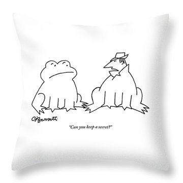 A Man In A Frog's Suit Talking And Standing Next Throw Pillow by Charles Barsotti