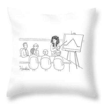 A Man In A Pharaoh Headdress Stands At The Front Throw Pillow