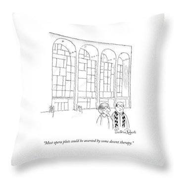 A Man In Glasses Talks To A Woman In Glasses Throw Pillow