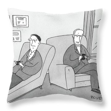 A Man Is On The Couch In His Therapist's Office Throw Pillow