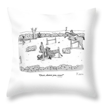 A Man Is Riding A Horse In A Competition. Throw Pillow