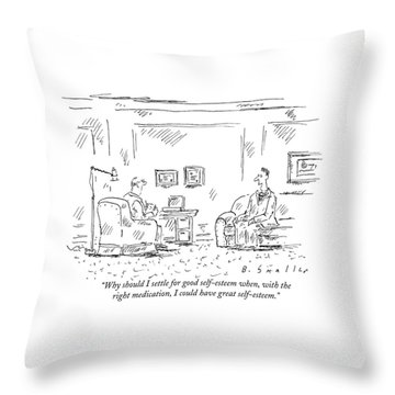 A Man Is Seen Sitting And Talking Throw Pillow
