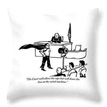 A Man Is Seen Wearing A Cape Next To A Wind Throw Pillow by Drew Dernavich