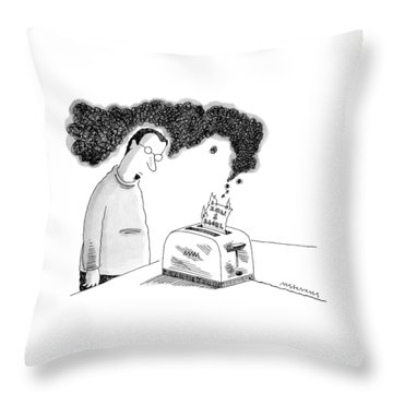 A Man Is Standing In Front Of A Smoking Toaster Throw Pillow