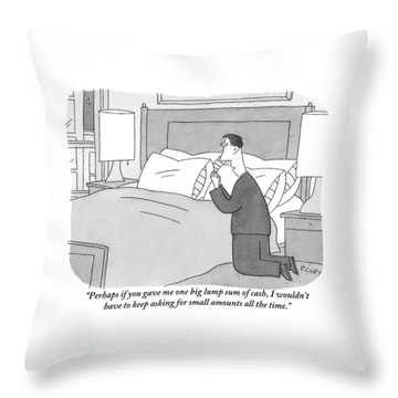 A Man Kneels Beside His Bed Throw Pillow