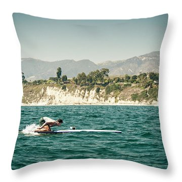 A Man On A Paddleboard, Racing Throw Pillow