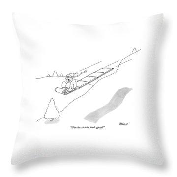 A Man On A Sled Throw Pillow