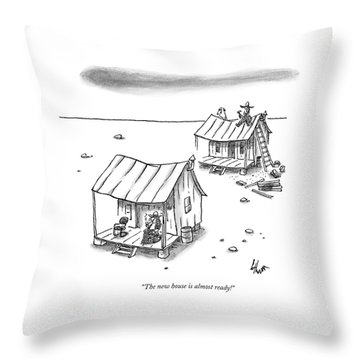 A Man On Top Of A Shack With A Ladder Throw Pillow