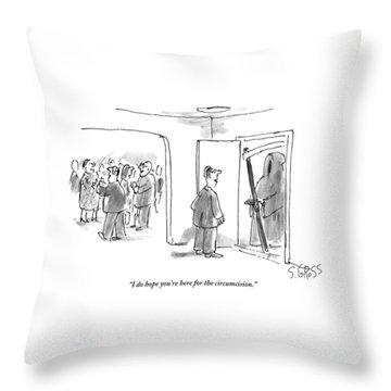 A Man Opens The Door Of His Apartment Throw Pillow