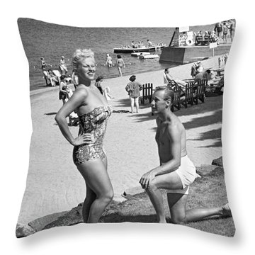 A Man Proposes On The Beach Throw Pillow