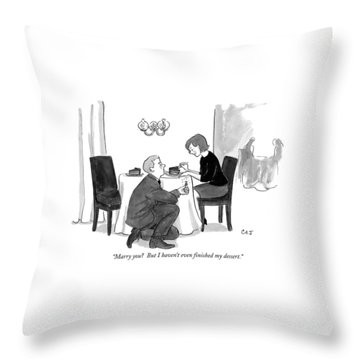 A Man Proposes To A Woman In A Restaurant Throw Pillow