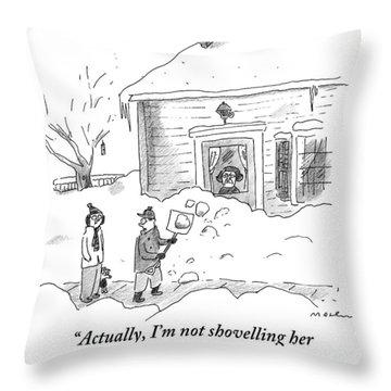 A Man Shoveling Snow Addresses A Person Throw Pillow