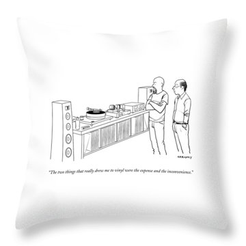 A Man Shows Another Man His Extensive Collection Throw Pillow