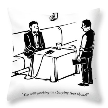 A Man Sits At A Restaurant Table Throw Pillow