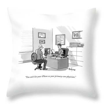 A Man Speaks To A Receptionist Throw Pillow
