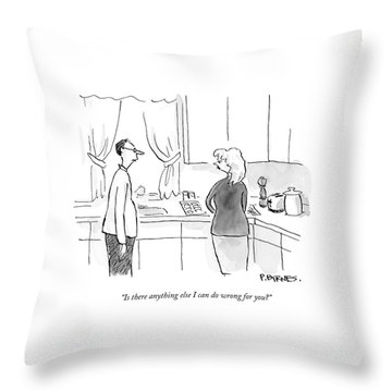 A Man Speaks To A Woman In A Kitchen Throw Pillow
