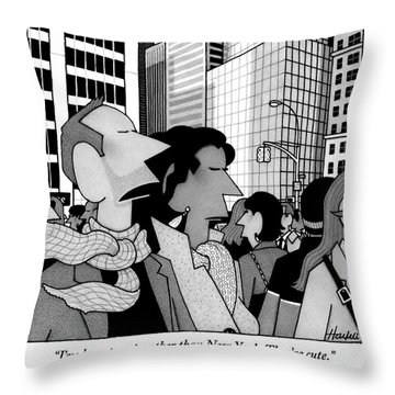 A Man Speaks To His Wife In The Midst Of New York Throw Pillow