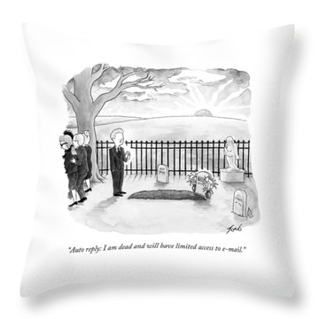 A Man Standing By A Fresh Grave After A Funeral Throw Pillow