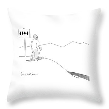 A Man Stands At The Top Of A Ski Slope Throw Pillow